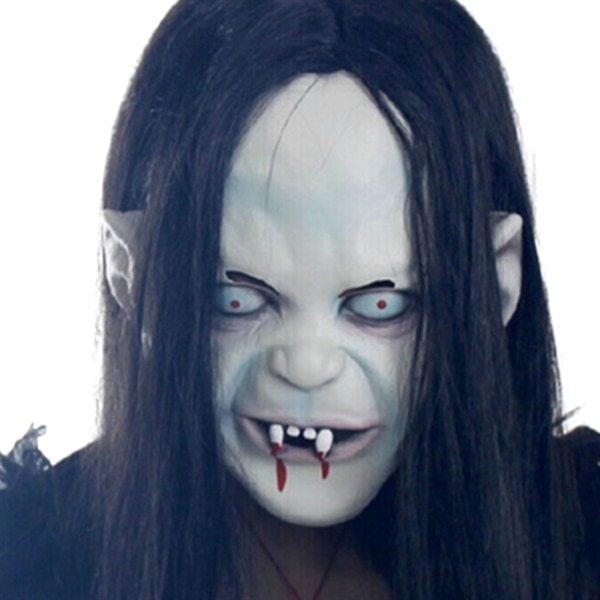 Halloween Zombie maske med hår