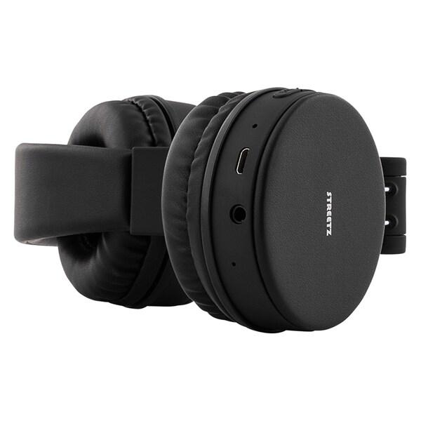STREETZ hopfällbara Bluetooth-hörlurar med mikrofon Svart