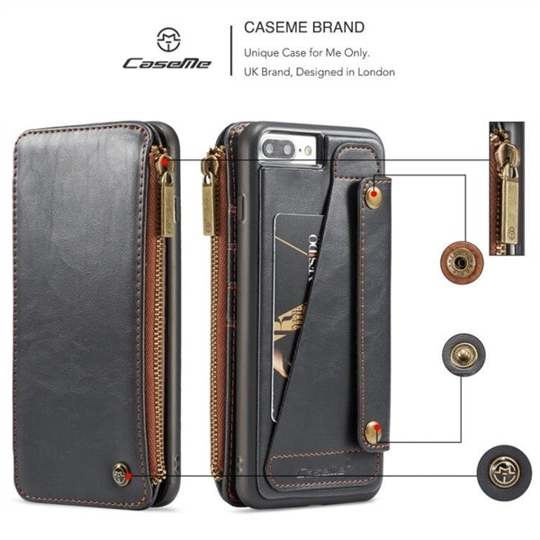 CaseMe-011 Tegnebogsfoderal iPhone 8 Plus & 7 Plus Sort